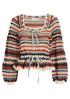Ulla Johnson Constanza Crochet Knit Peplum Top