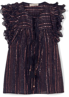 Ulla Johnson Cora Ruffled Striped Metallic Cotton-blend Voile Top