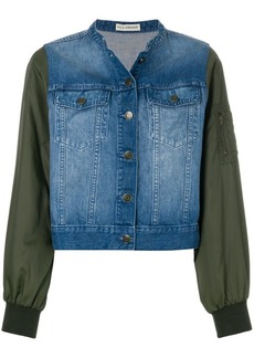 Ulla Johnson cropped denim bomber sleeve jacket