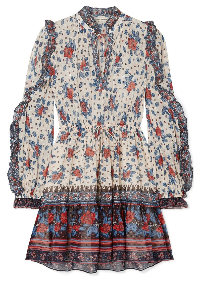 Ulla Johnson Dani Ruffled Floral-print Fil Coupé Silk-blend Chiffon Mini Dress