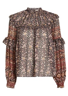 Ulla Johnson Eleni Floral Lurex Dot Blouse