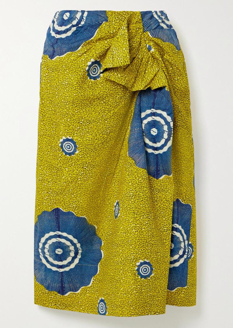 Ulla Johnson Ember Wrap-effect Ruffled Printed Cotton-poplin Midi Skirt