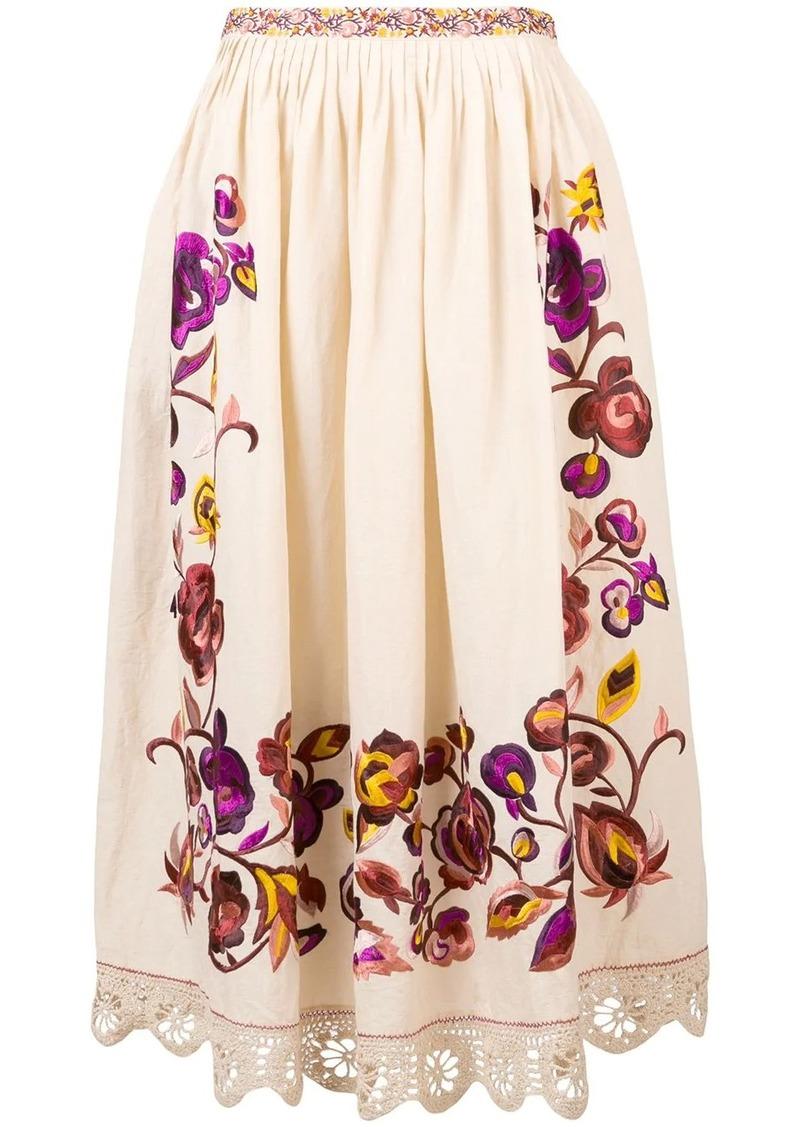 Ulla Johnson embroidered floral full skirt