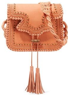 Ulla Johnson Esti Macramé-trimmed Studded Leather Shoulder Bag