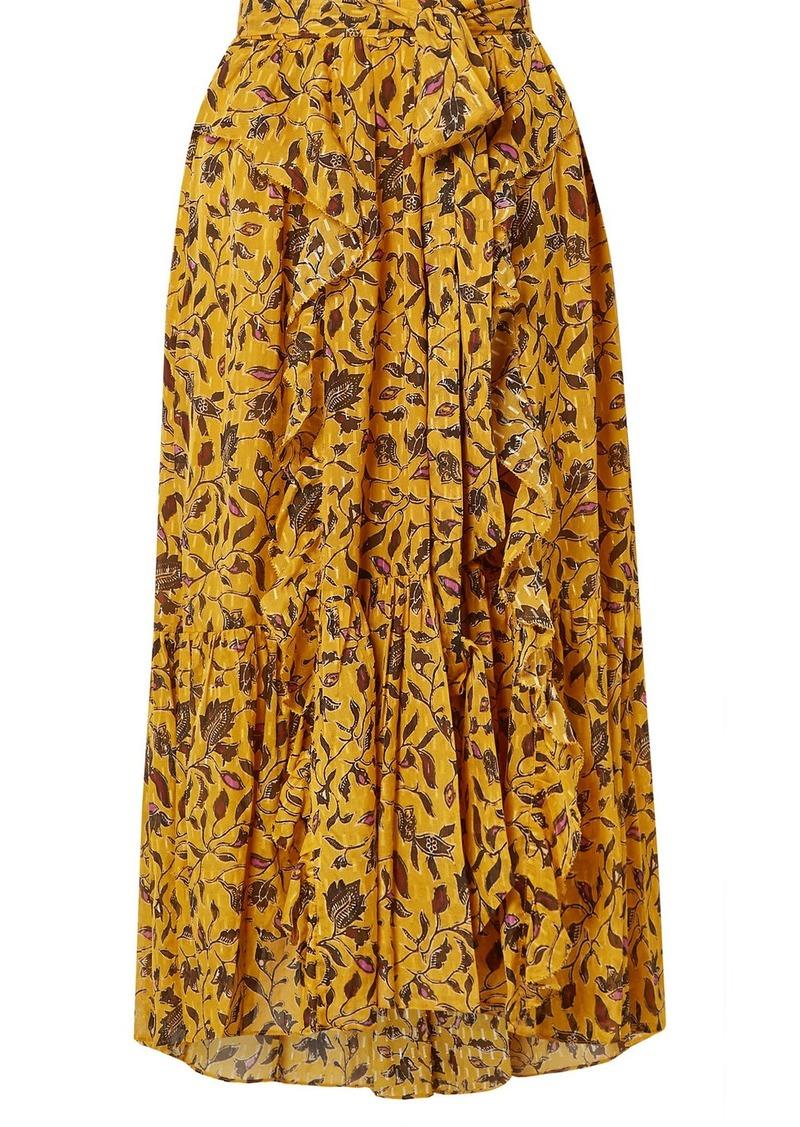 Ulla Johnson Fae Ruffled Floral-print Silk, Cotton And Lurex-blend Skirt