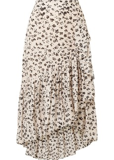 Ulla Johnson Gretchen Asymmetric Tiered Floral-print Cotton And Silk-blend Gauze Skirt
