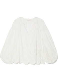 Ulla Johnson Harper Crochet-trimmed Embroidered Cotton-voile Blouse