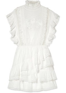Ulla Johnson Holly Ruffled Lace-trimmed Cotton-voile Mini Dress