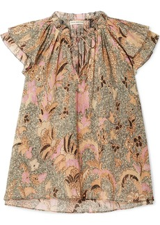 Ulla Johnson Ida Ruffled Printed Metallic Cotton-blend Top