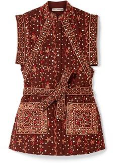 Ulla Johnson Indira Embellished Embroidered Linen And Cotton-blend Vest