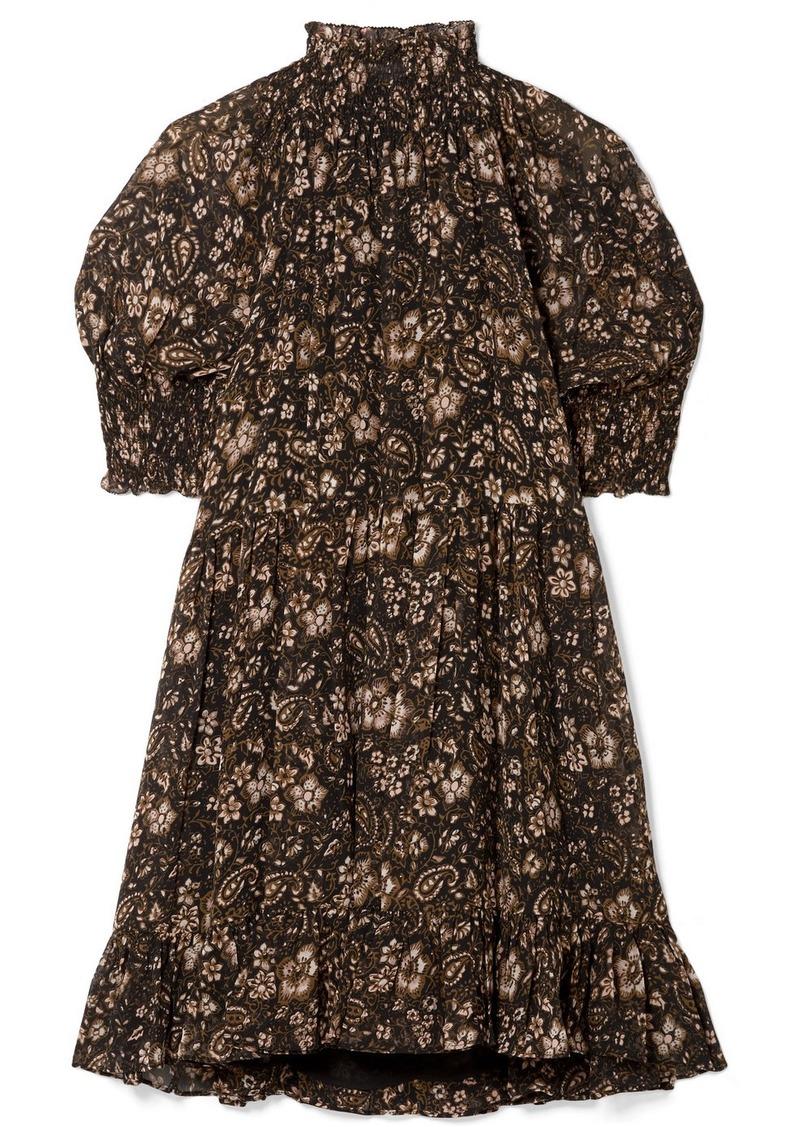 a4f68d73941 Ulla Johnson Josie Smocked Floral-print Silk-georgette Mini Dress ...