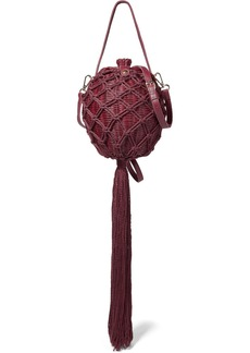 Ulla Johnson Leia Leather-trimmed Wicker And Macramé Shoulder Bag