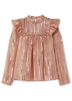 Ulla Johnson Leopold Ruffled Striped Silk And Lurex-blend Chiffon Blouse