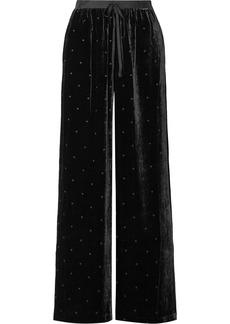 Ulla Johnson Maia Grosgrain-trimmed Swiss-dot Velvet Wide-leg Pants