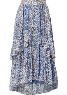 Ulla Johnson Maria Ruffled Metallic Floral-print Silk-blend Georgette Skirt
