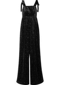 Ulla Johnson Minnet Bow-embellished Swiss-dot Velvet Jumpsuit