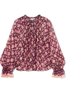 Ulla Johnson Naliah Printed Metallic Fil Coupé Silk-blend Chiffon Blouse