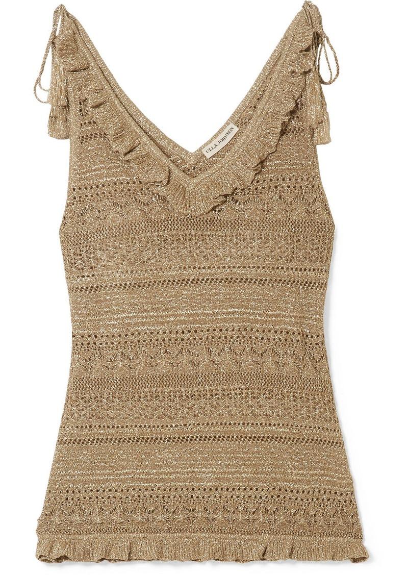 Ulla Johnson Noley Tasseled Metallic Crochet-knit Tank