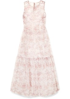 Ulla Johnson Polline Tiered Floral-print Organza Midi Dress