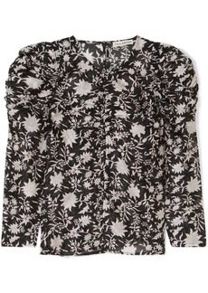 Ulla Johnson Posey ruched floral-print cotton and silk-blend organza blouse