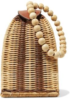 Ulla Johnson Raya Leather-trimmed Rattan Clutch