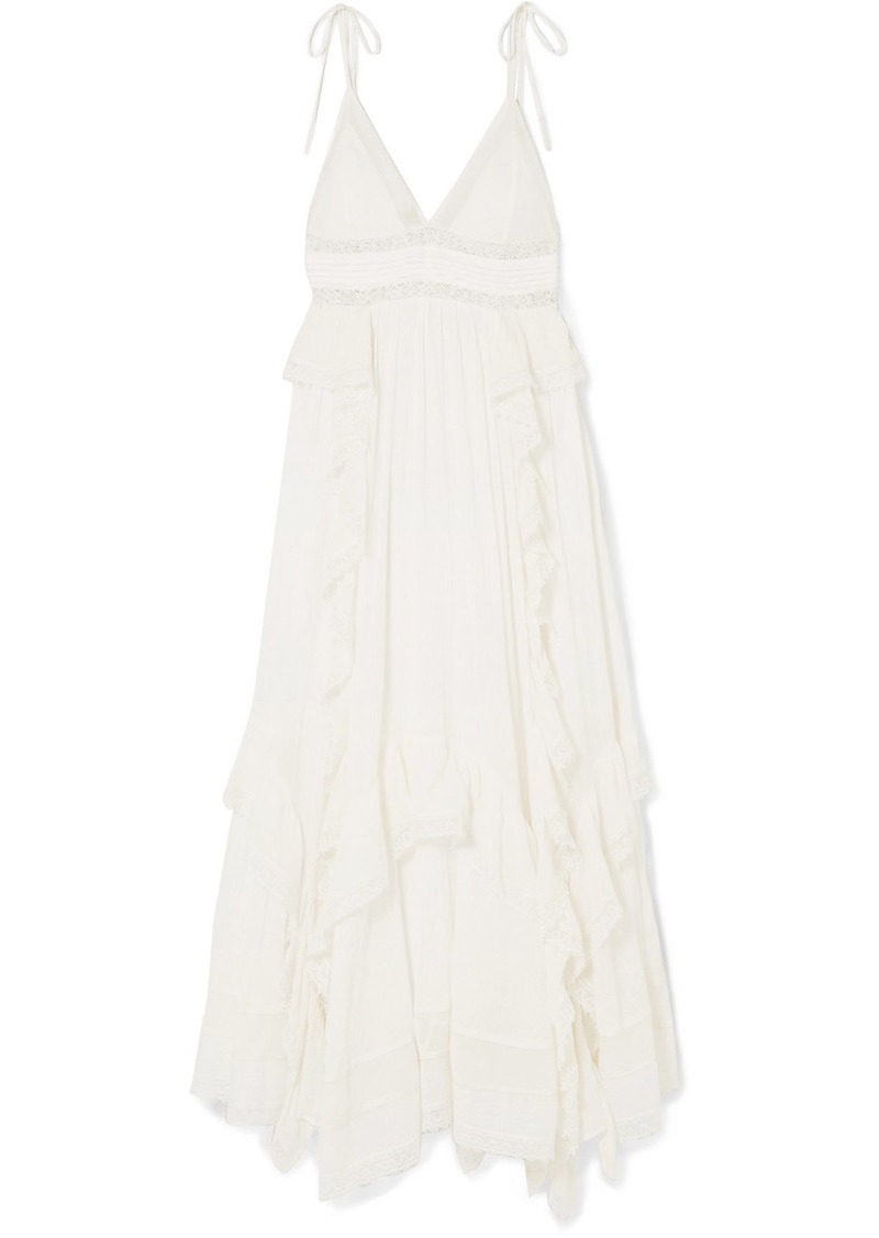Ulla Johnson Ruffled Lace-trimmed Cotton-crepon Maxi Dress