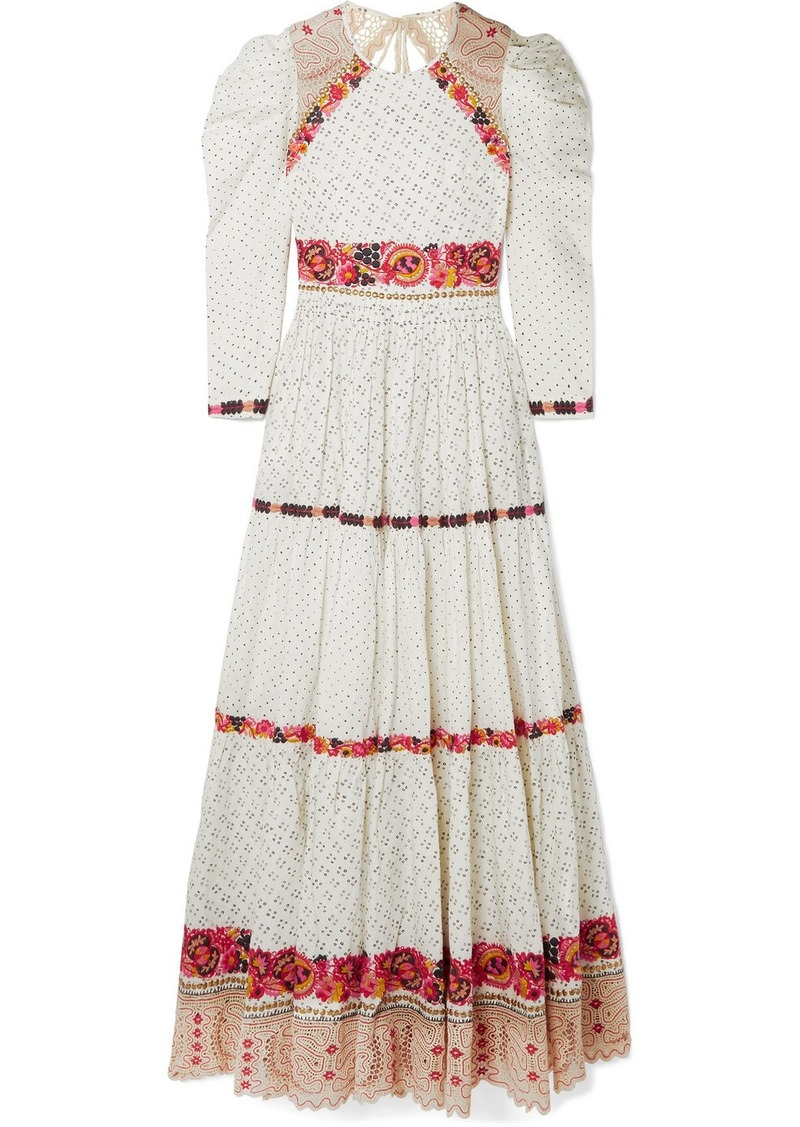 Ulla Johnson Salma Open-back Embroidered Macramé And Linen And Cotton-blend Gown