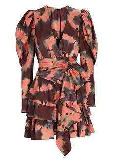 Ulla Johnson Semira Tie-Dye Puff Sleeve Mini Dress