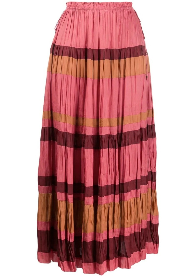 Ulla Johnson striped pleated midi skirt