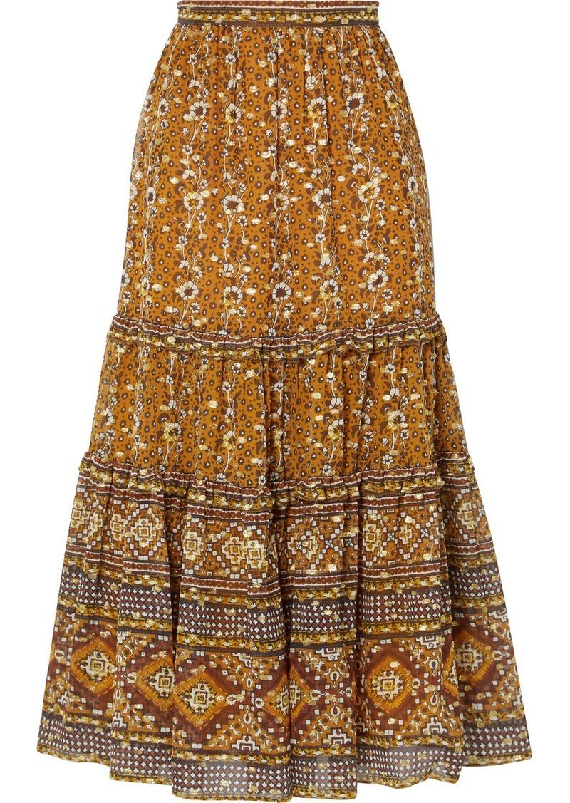 Ulla Johnson Thea Printed Fil Coupé Silk And Lurex-blend Midi Skirt
