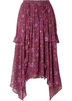 Ulla Johnson Torri Asymmetric Printed Silk-chiffon Skirt