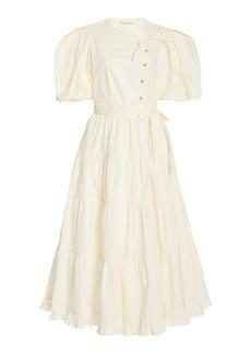 Ulla Johnson - Women's Agathe Tiered Cotton Midi Dress - White/khaki - Moda Operandi