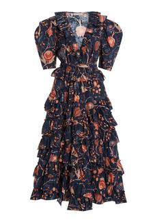 Ulla Johnson - Women's Aurora Ruffled Cotton Dress - Navy/red - Moda Operandi