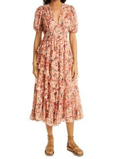 Ulla Johnson Aliya Metallic Silk Ruffle Dress