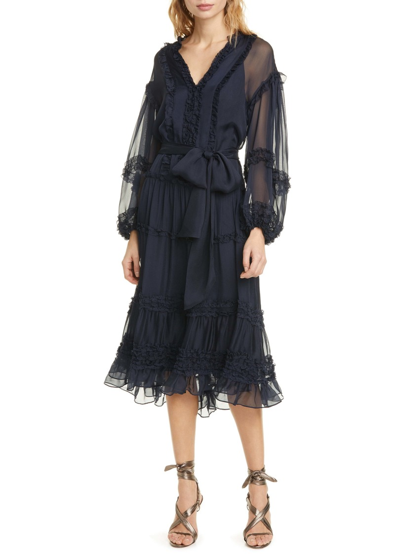 Ulla Johnson Althea Ruffle Long Sleeve Silk Habutai Dress