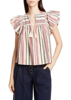 Ulla Johnson Amba Stripe Flutter Sleeve Blouse