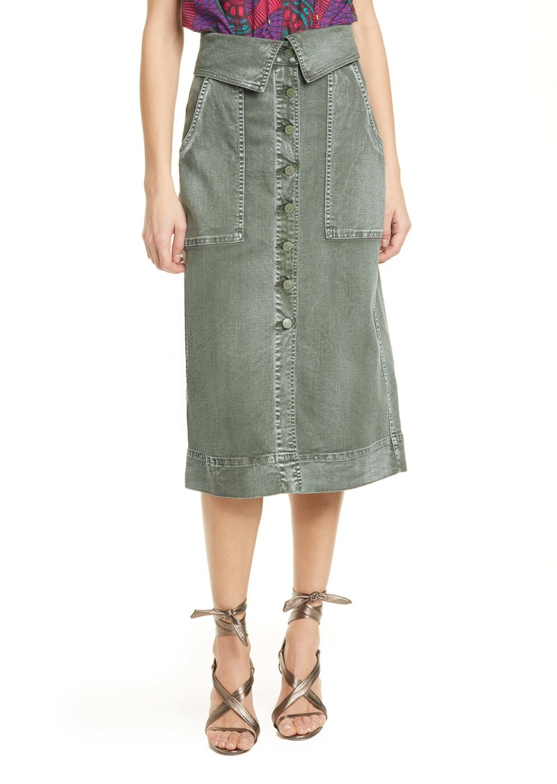 Ulla Johnson Andi Foldover Waist Stretch Denim Skirt