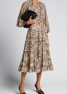 Ulla Johnson Anzu Marbled Cotton Tie-Waist Midi Dress
