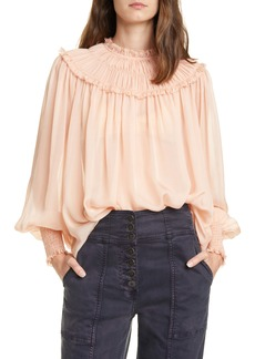 Ulla Johnson Arabella Shirred Silk Blouse