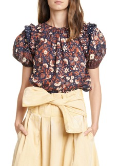 Ulla Johnson Arbor Floral Puff Sleeve Top