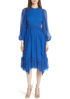 Ulla Johnson Arielle Smocked Silk Cloqué Dress