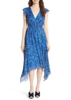 Ulla Johnson Aurelie Floral Shark Bite Hem Cotton & Silk Dress