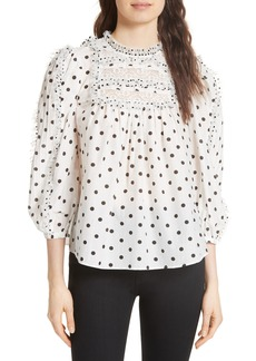 Ulla Johnson Bailey Polka Dot Lace Yoke Blouse