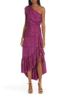 Ulla Johnson Belline Floral Print One-Shoulder Silk Blend Dress