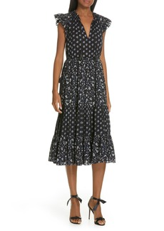 Ulla Johnson Benita Mixed Floral Print Midi Dress