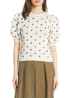 Ulla Johnson Bettine Puff Sleeve Polka Dot Sweater