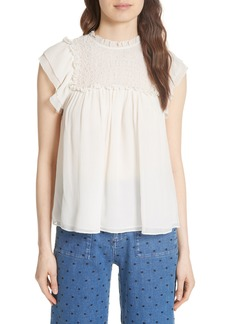 Ulla Johnson Callie Smocked Silk Cloqué Top