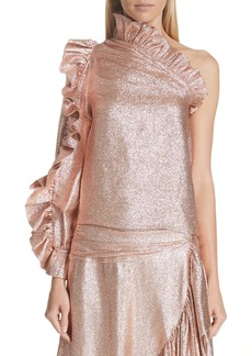 Ulla Johnson Catroux One-Shoulder Metallic Silk Blend Blouse