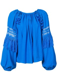 Ulla Johnson cut out and tassel detail blouse - Blue