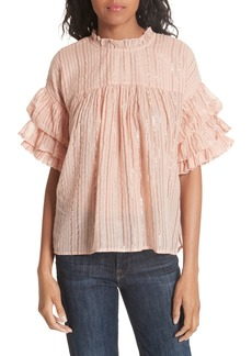 Ulla Johnson Deniz Metallic Stripe Blouse
